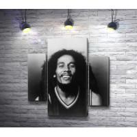 Боб Марли - ямайский музыкант на черно-белом снимке