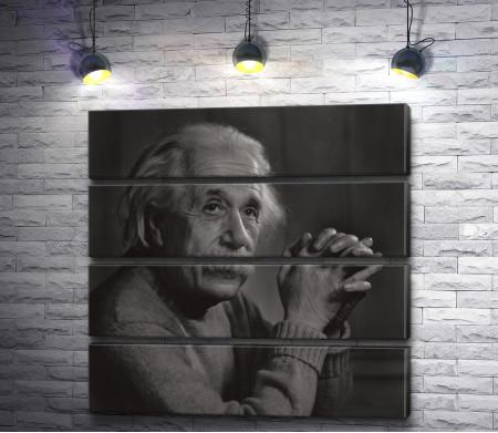 Величайший ученый Альберт Эйнштейн. Черно-белый снимок
