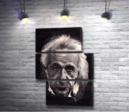 Черно-белый портрет Альберта Эйнштейна