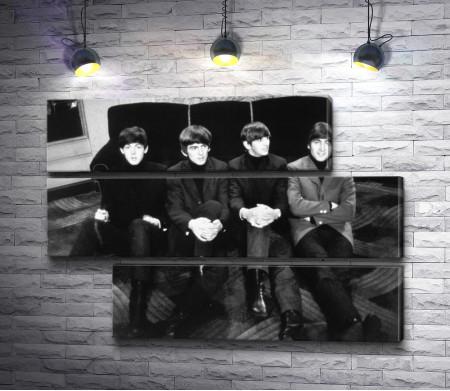 Черно-белое фото Ливерпульской Четверки Битлз