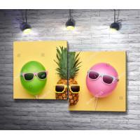 Модный ананас и воздушные шары в летних очках