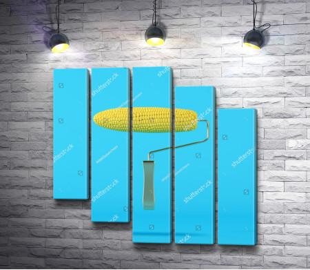 Малярный валик-кукуруза на голубом фоне