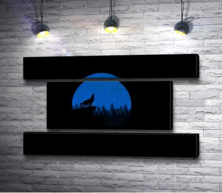 Волк на фоне синей Луны