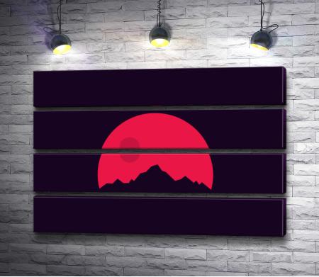 Гора на фоне красной Луны