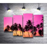 Пальмы на фоне розового заката