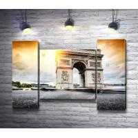 Триумфальная арка во время заката, Париж