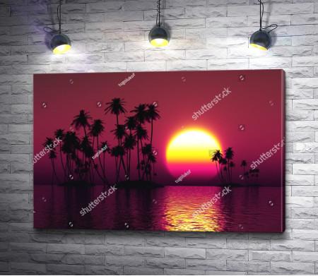 Огненный закат над тропиками