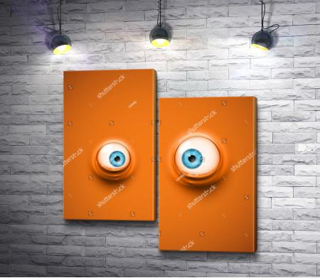 Мультяшные глаза на оранжевом фоне