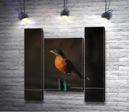 Геометрическая фигурка птицы