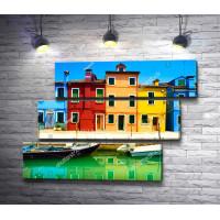 Разноцветные дома на берегу канала, Венеция