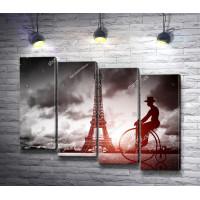 Мужчина на ретро велосипеде на фоне Эйфелевой башни, Париж