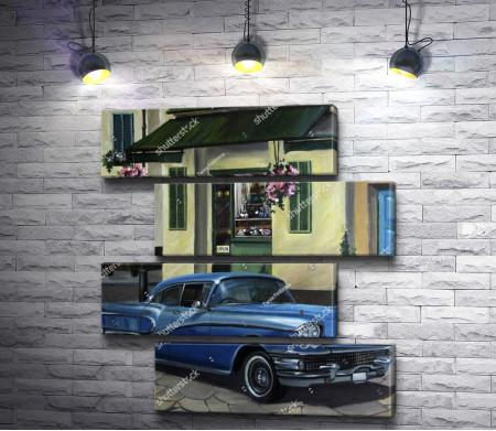Ретро автомобиль возле ресторана