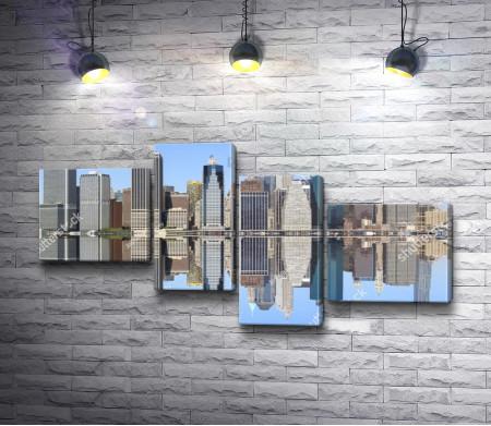Вид на Манхеттен с залива. Нью-Йорк