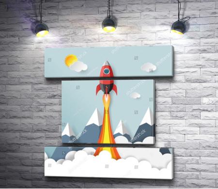 Ракета стартует в небо