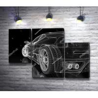 Черный спортивный автомобиль в векторном изображении