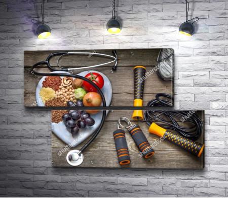 Фрукты, злаки, стетоскоп, спортивный инвентарь