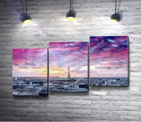 Париж во время сиреневого заката