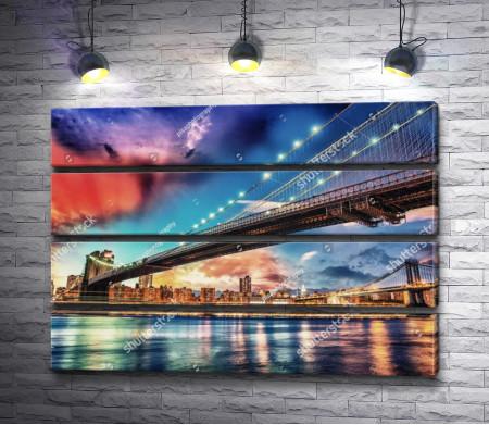 Панорама на Бруклинский и Манхэттенский мост, Нью-Йорк