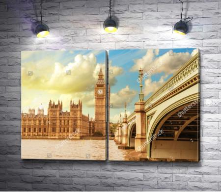 Вестминстерский дворец с Биг Беном  и мост через Темзу