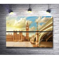 Вестминстерский дворец с Биг Беном  и мост через Темзу, Лондон