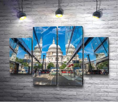 Собор Святого Павла с отражением в стеклянных фасадах, Лондон