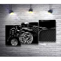 Ретро автомобиль Bentley в черно-белой гамме
