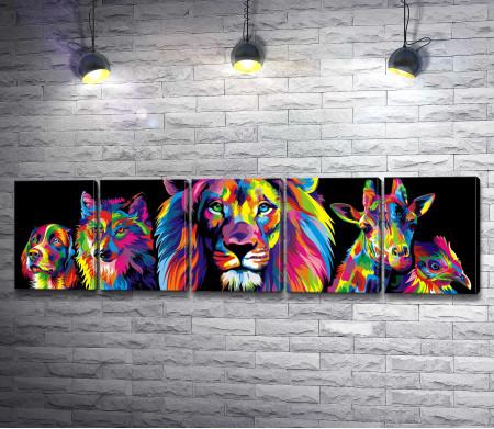 Радужные животные: лев, собака, волк, жираф, петух