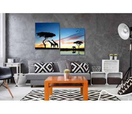 Силуэт животных в Сафари на фоне безумно красивого пейзажа