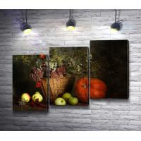 Цветы в корзине и овощи с фруктами, осенний натюрморт