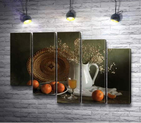 Итальянский натюрморт с вином, цветами и апельсинами