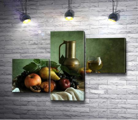 Натюрморт с медным кувшином, фруктами и вином