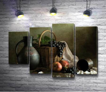 Натюрморт с глиняным кувшином и фруктами