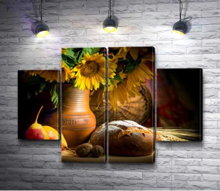 Осенний натюрморт с фруктами, подсолнухами и хлебом
