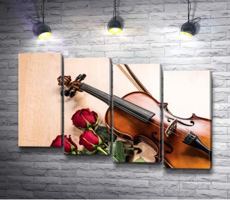 Скрипка с красными розами