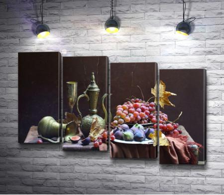 Французский натюрморт с виноградом, инжиром и медной посудой