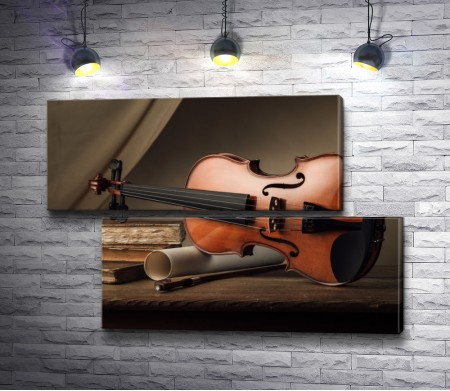 Скрипка, свиток и книги