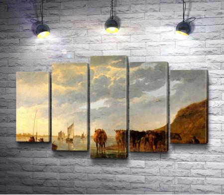 Альберт Якобс Кёйп - Коровы на берегу реки