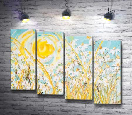 """Джастин Геффри """"Поле ромашек на фоне желтого солнца и голубого неба"""""""