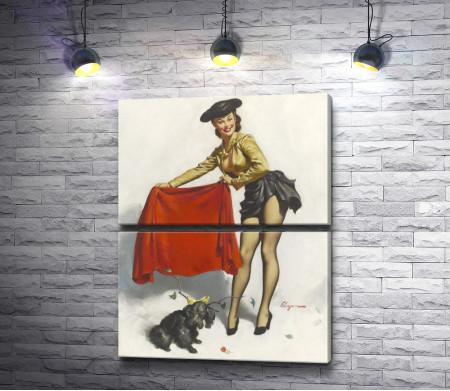 """Джил Элвгрен """"Девушка в черной шляпке и мулетой в руках"""""""