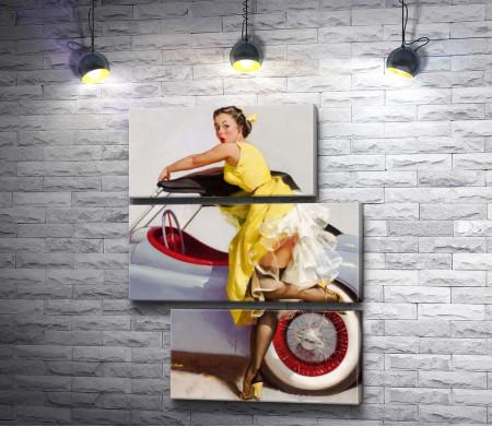 """Джил Элвгрен """"Девушка в желтом платье возле автомобиля"""""""
