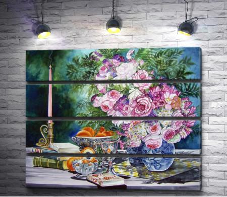 Игорь Левашов - Натюрморт с розами и фруктами