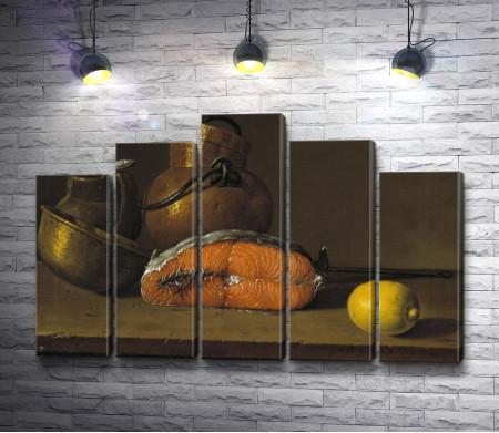 """Луис Мелендес """"Still life with a piece of salmon, lemon and three vessels"""" (Натюрморт с куском лосося, лимоном и тремя сосудами)"""