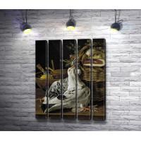 "Луис Мелендес ""Still life with birds, basket food and bowls"" (Натюрморт с птицами, корзина с едой и миски)"