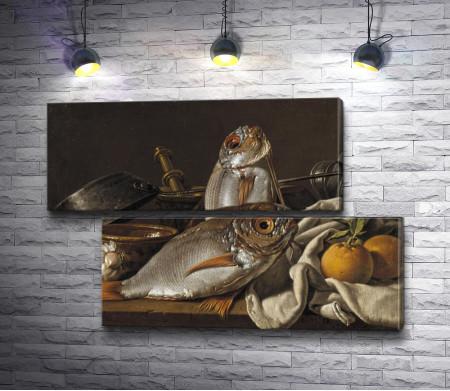 "Луис Мелендес ""Still life with bream, orange, garlic, spices and cooking utensils"" (Натюрморт с лещом, апельсинами, чесноком, приправами и кухонной утварью)"