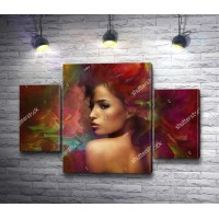 Красивая девушка на фоне цветной абстракции