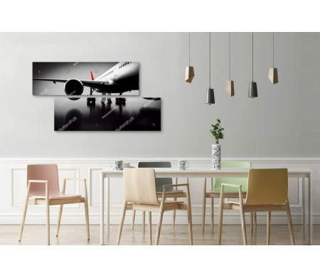 Пассажирский самолет, черно-белое фото
