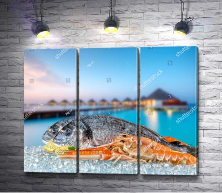 Рыба и лангустины на подушке из люда на фоне вилл