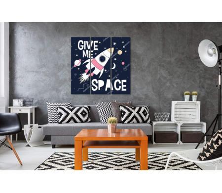 "Постер ""Give me Space"" c ракетой"
