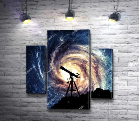 Телескоп на фоне галактики