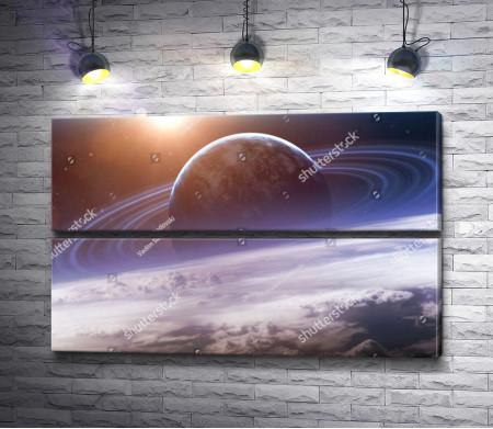 Красивый вид на планету Сатурн